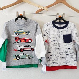 Set of 4 Carters Long Sleeve Shirts 2T
